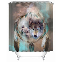 Chic Magic Wolf Print 3D Bathroom Shower Curtain