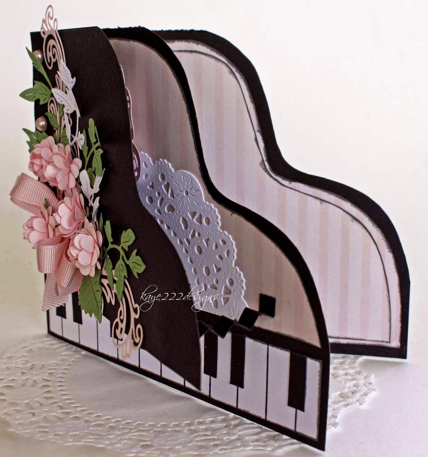 открытка пианино раскладная тушки