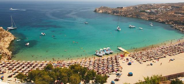 Praias românticas em Mykonos