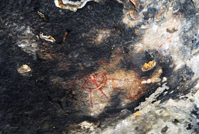 Indian rock cave paintings with a real UFO depicted.