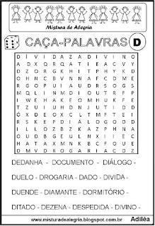 Caça-palavras com letra D