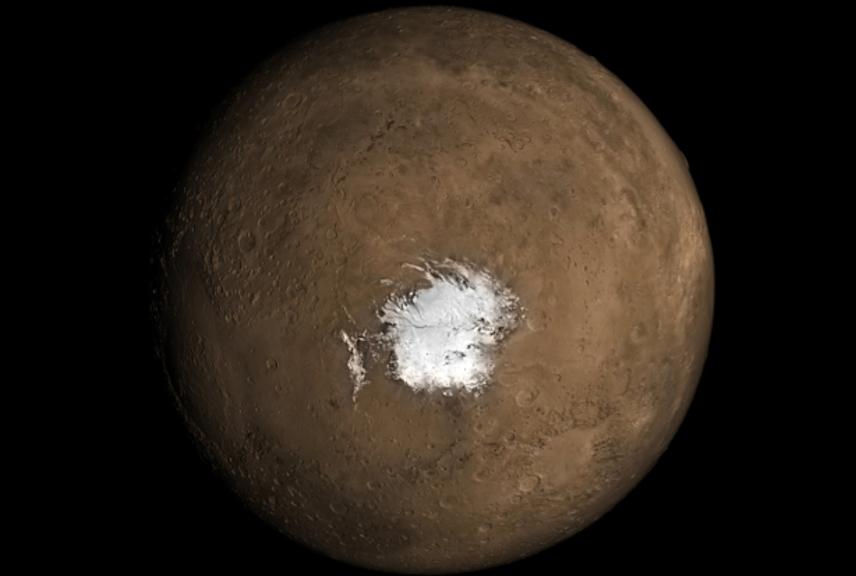 Il lago di ghiaccio scoperto su Marte potrebbe essere dovuto all'attività vulcanica.