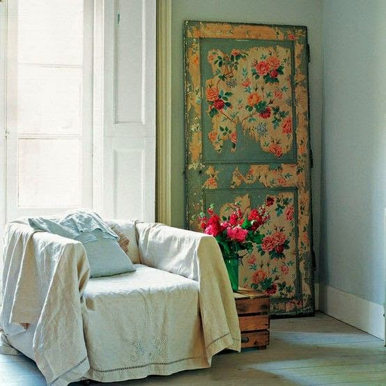 decoupaged interior panelled door