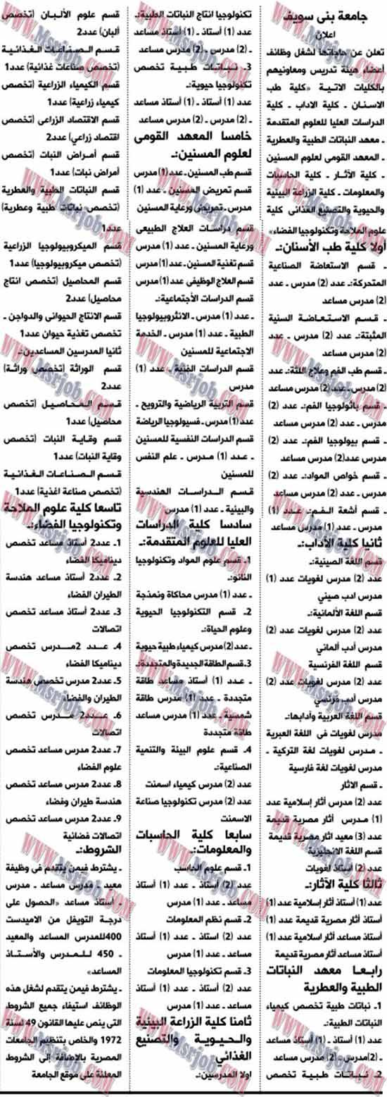 وظائف جامعة بنى سويف - للمؤهلات العليا بتاريخ اليوم 31 / 12 / 2016