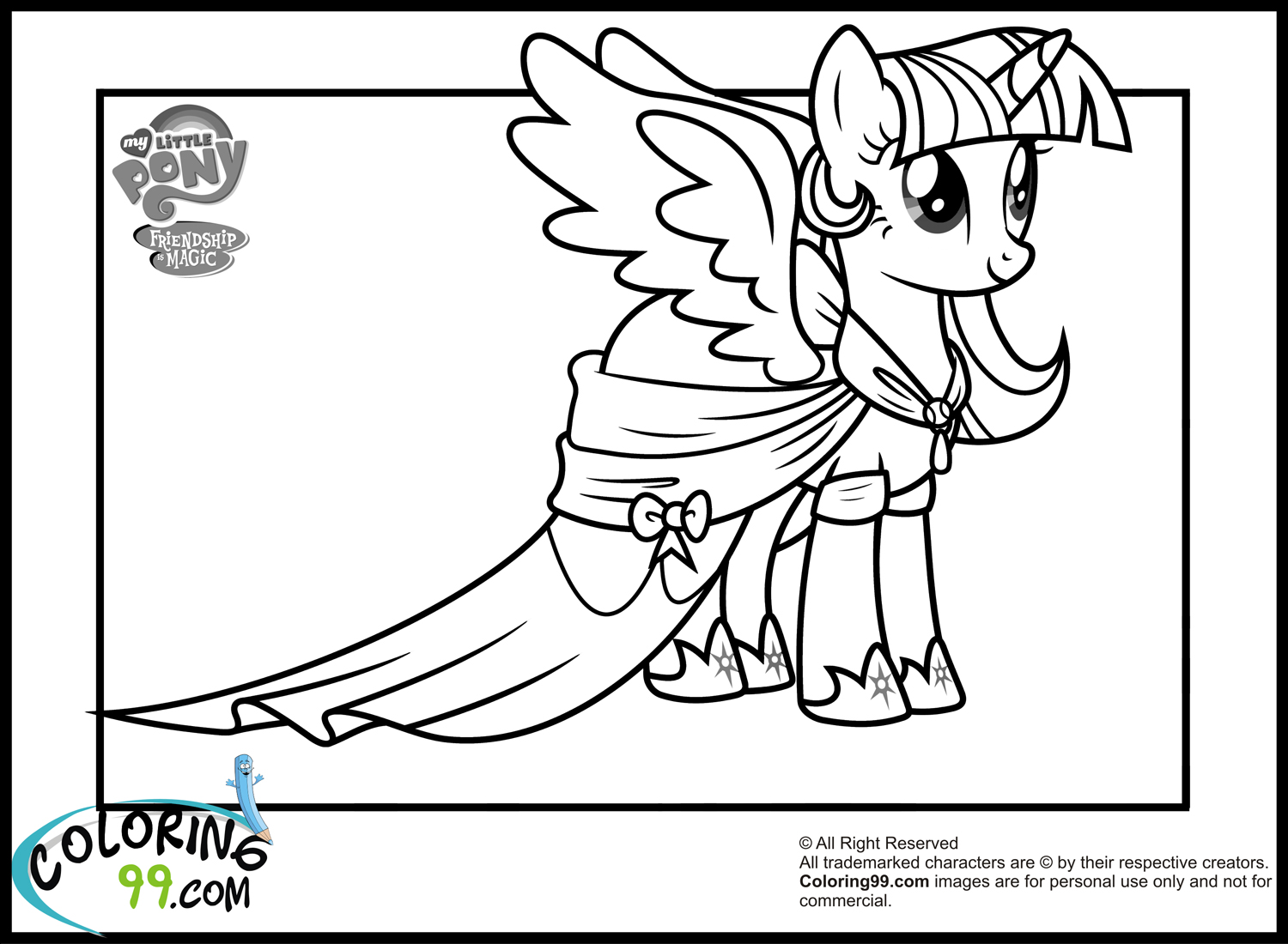 My Little Pony Twilight Sparkle Coloring Pages Team Colors