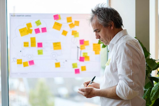 Hombre rellenando el Business Model Canvas