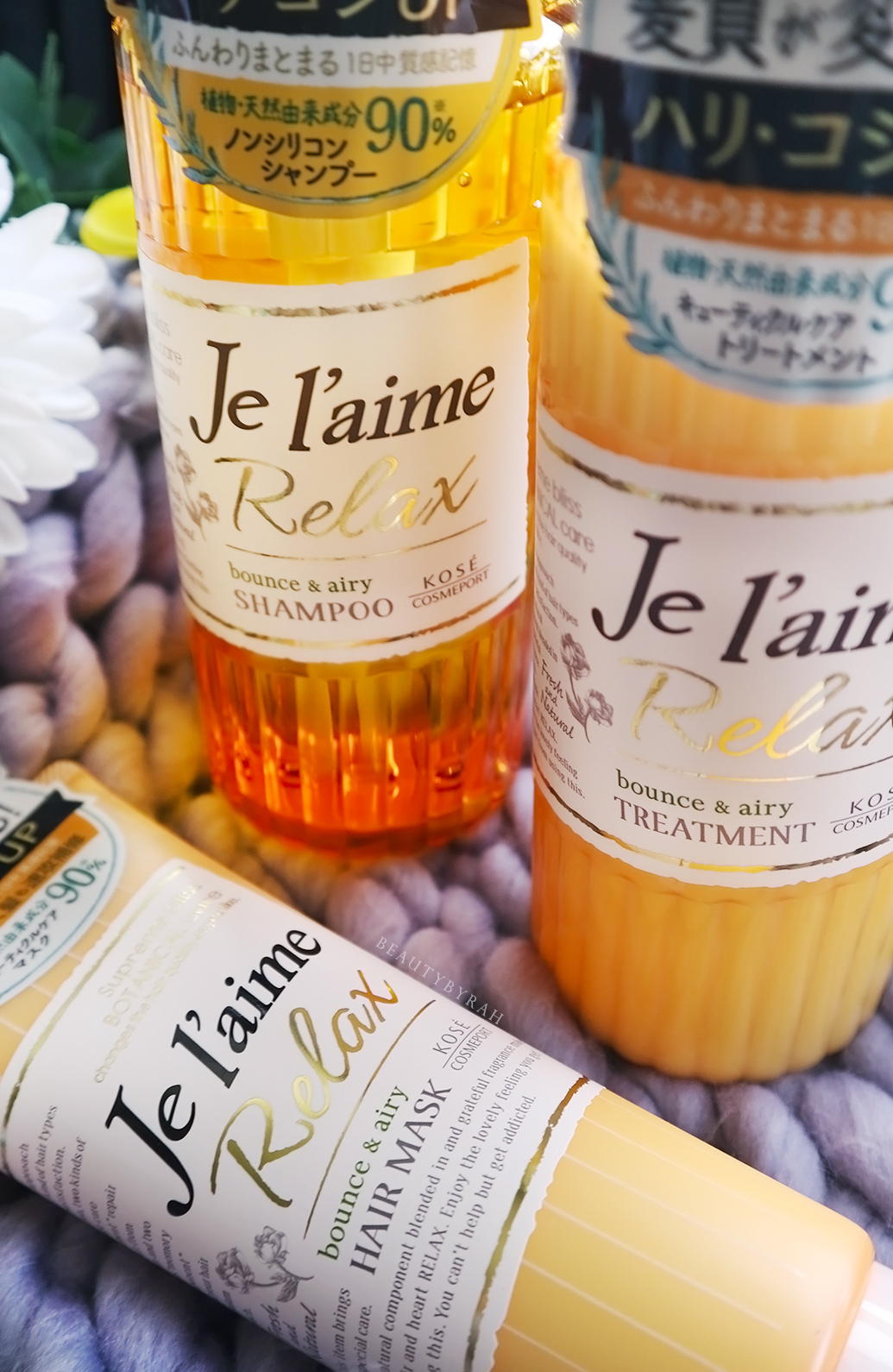 Je L'aime Relax Bounce and Airy Shampoo, treatment and hair mask review