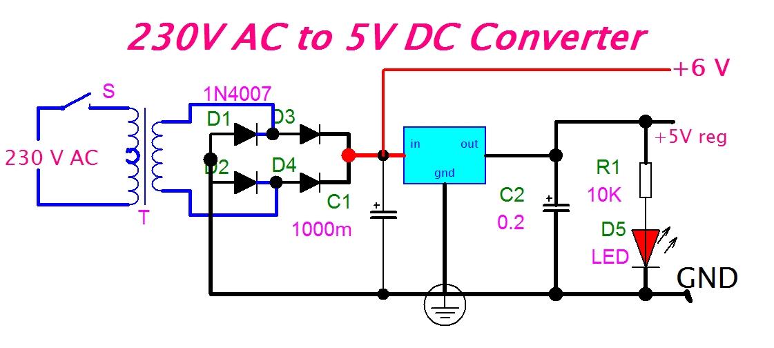 eeetricksblogspot: 230V AC to 5V DC Converter Circuit