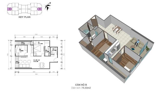 Thiết kế căn hộ loại B - 74,5m2 - 2PN, 2VS chung cư Eco Dream City