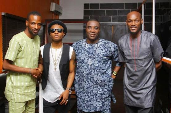 00 BTS pics of 2face, Wizkid, KWAM1, 9ice at video shoot for Dance Go