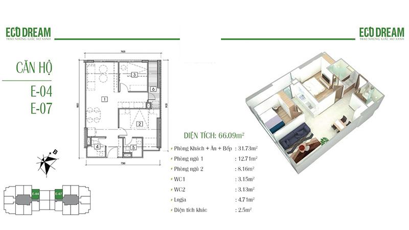 Thiết kế căn hộ 2PN, 66m2 chung cư Eco Dream