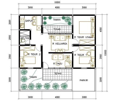 gambar denah rumah luas tanah 120 meter 2