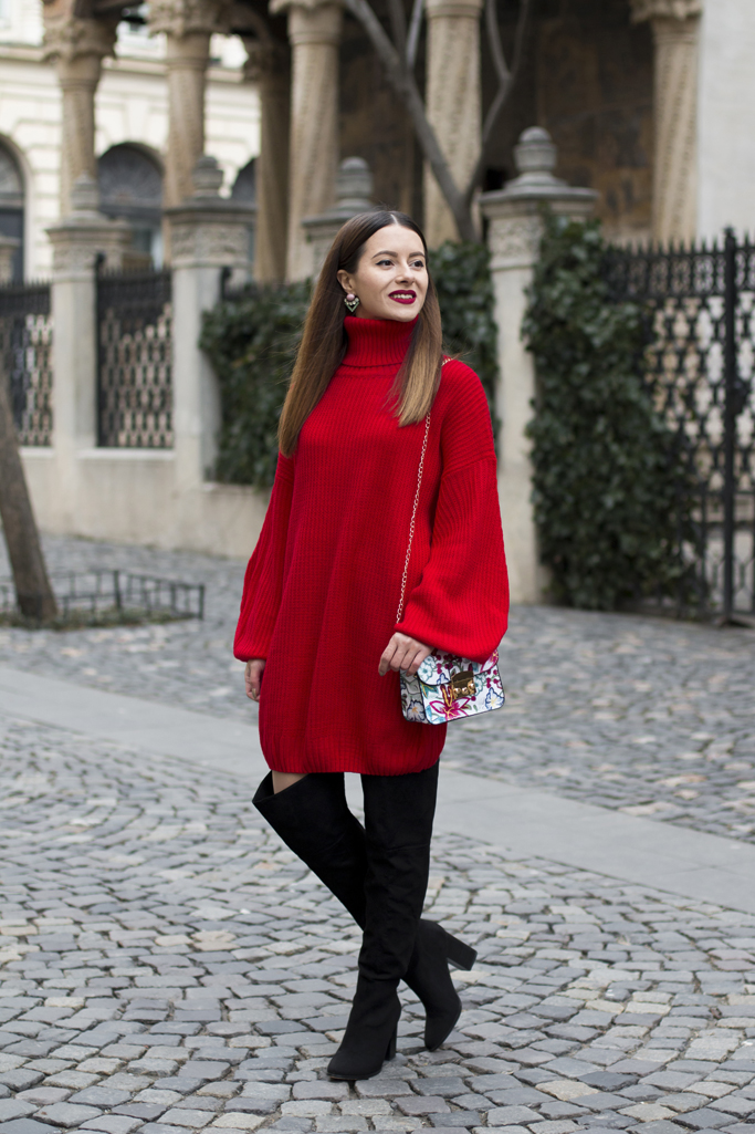 adina nanes red sweater dress
