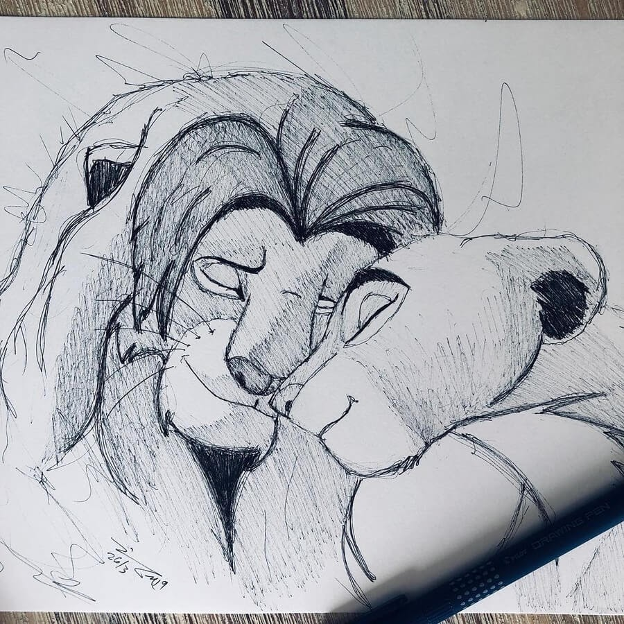 02-The-Lion-King-Jimmy-Mätlik-Fantasy-Character-Scribble-Drawings-www-designstack-co