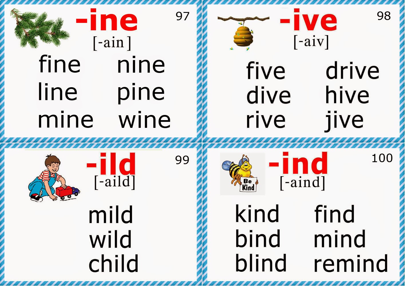 Phonics Flashcards Long I Vowel