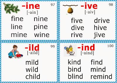 phonics flashcards for children long i sound
