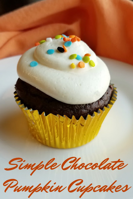 Chocolate cupcakes made simply with a cake mix and super soft and moist with pumpkin. Just a hint of spice lets you know that your fall cupcake dreams have come true!