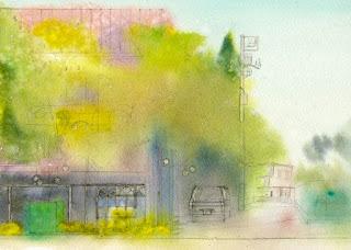 水彩画恵比寿4丁目 ウェットインウェットでファーストウォッシュ。