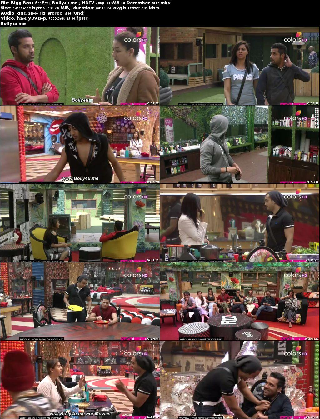 Bigg Boss S11E79 HDTV 480p 130MB 18 December 2017 Download