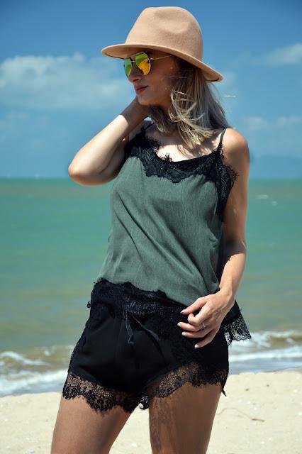 slip cami lace look summer australia boho style slip cami styled with rainbow round sunglasses and camel fedora on the beach