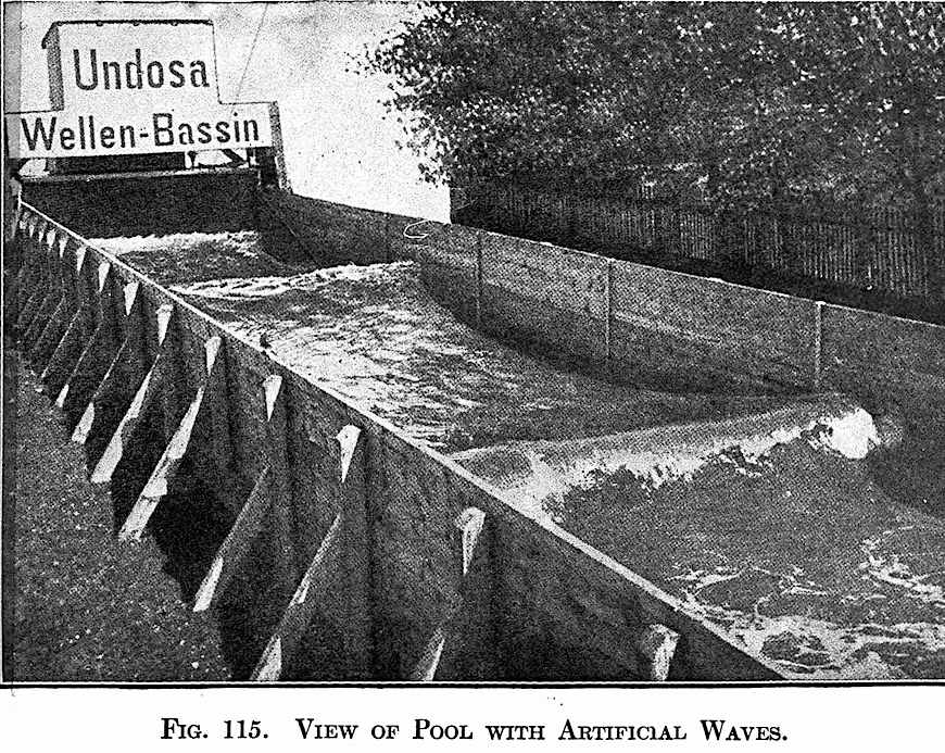 """View of Pool with Artificial Waves""  a 1908 wave-making machine"