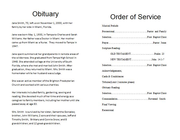 Free Memorial Programs  Funeral Service Template Word
