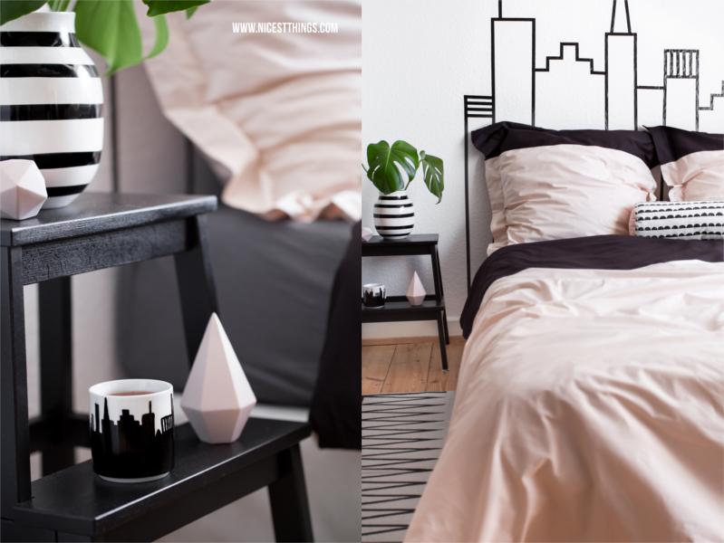 Schlafzimmer Bett DIY Idee: Skyline Kopfteil mit Masking Tape gestalten