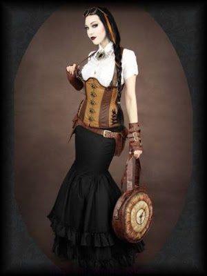 Victorian era skirt and dress styles. the trumpet skirt emphasises an hourglass figure and is popular in steampunk as well as modern fashion.