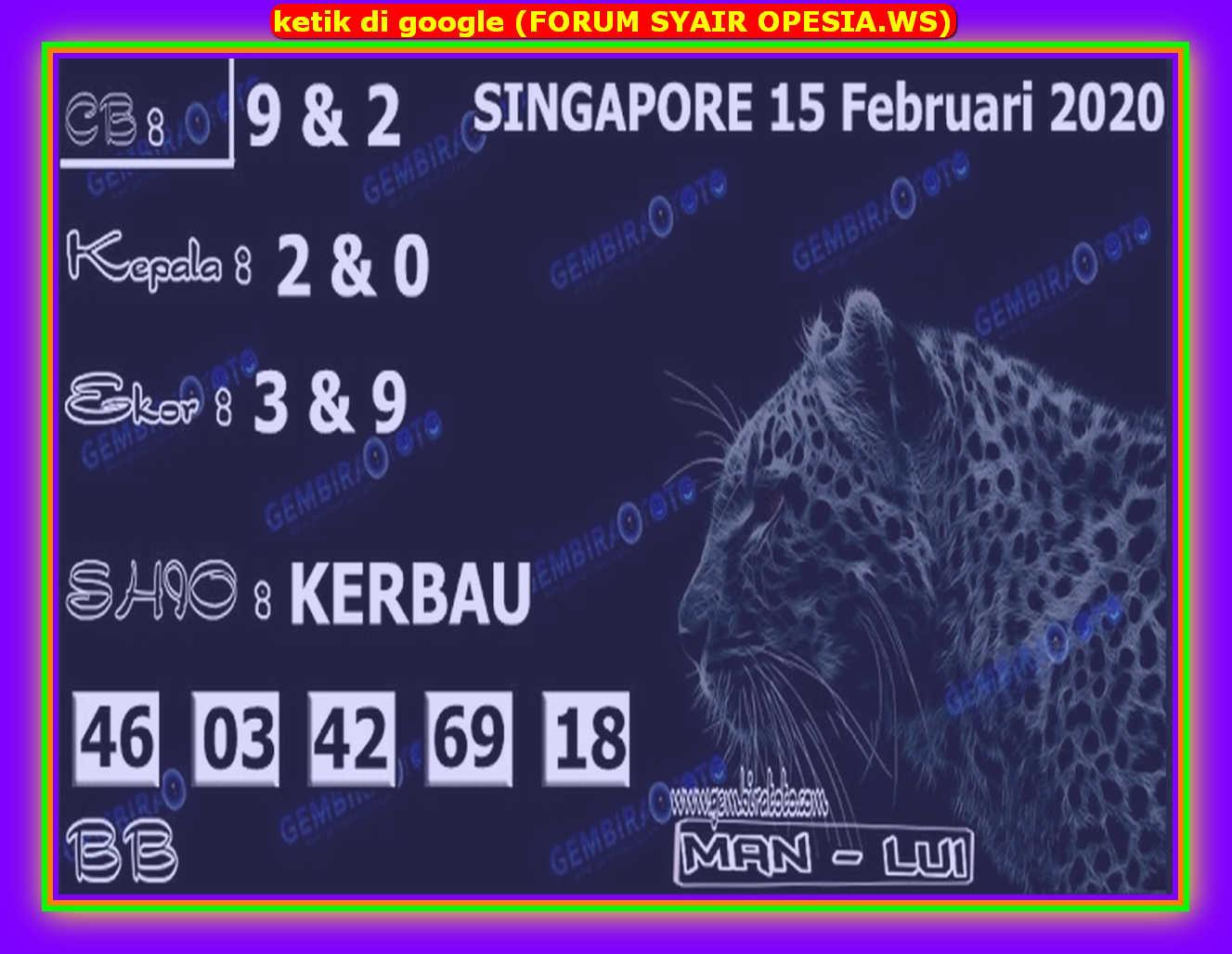 Kode syair Singapore Sabtu 15 Februari 2020 109