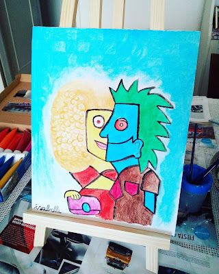 artwork picasso inspired acryllic paint man women vivid colors