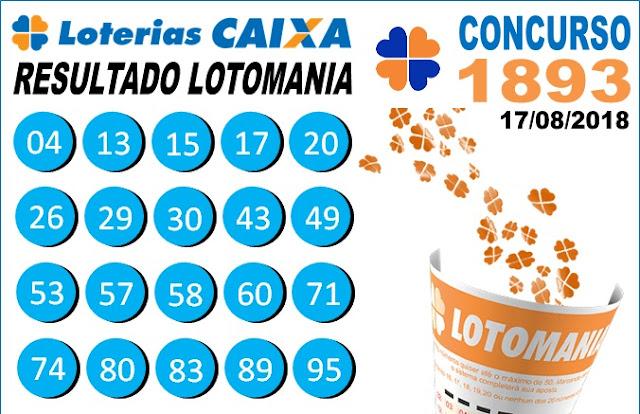 Resultado da Lotomania concurso 1893 de 17/08/2018 (Imagem: Informe Notícias)