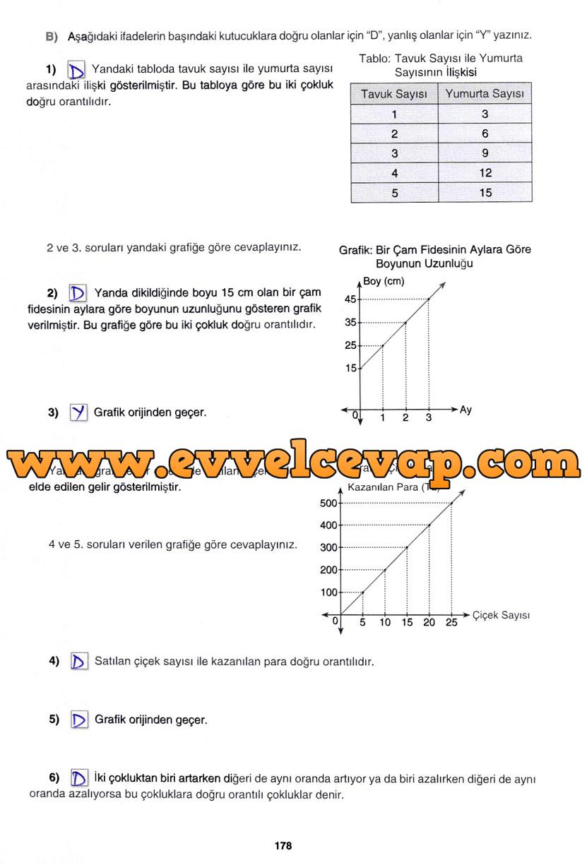 7. Sınıf Gizem Yayınları Matematik Ders Kitabı 178. Sayfa Cevapları 3. Ünite Değerlendirme Çalışmaları