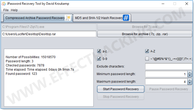 JPassword Recovery Found Password Screenshot