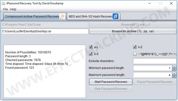 JPassword Recovery Found Password Screenshot