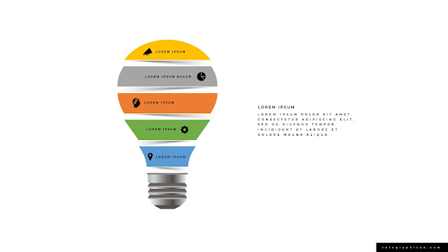 Origami Style Light Bulb Infographics PowerPoint Template Color Type E
