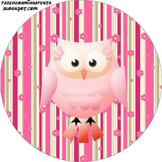 Pink Owl With Flowers and Stripes: Free Printable Cupcake Toppers and Wrappers for Quinceanera Party.