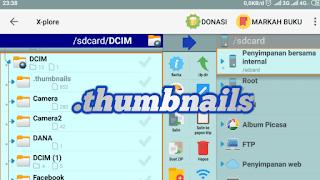 Cara menghapus file thumbnails di android