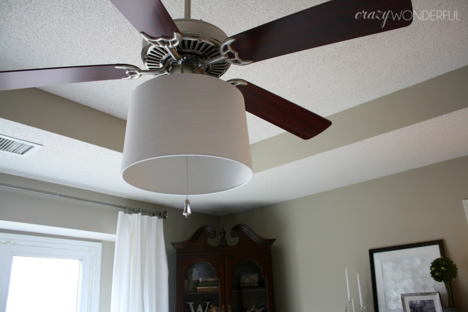 adding a drum shade to a ceiling fan - Crazy Wonderful