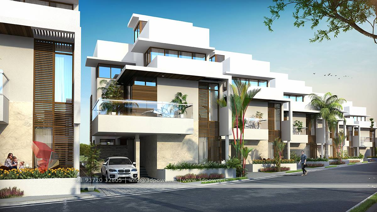 Residential towers row houses township designs villa bungalow Row home design ideas