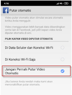 nonaktifkan putar otomatis video facebook