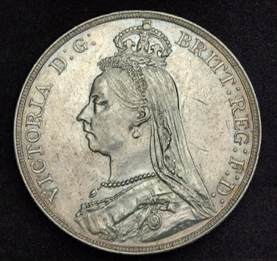 British Coins Silver Crown Coin Of 1889 Queen Victoria