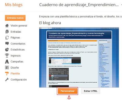 Personalizar plantilla del blog