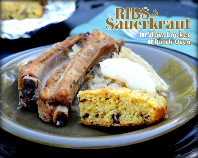 Ribs & Sauerkraut ♥ KitchenParade.com, cooked in a slow cooker or in a 'real' Dutch oven (pictured) over coals or an open fire. One Pot Dinner. Fix It & Forget It Dinner.