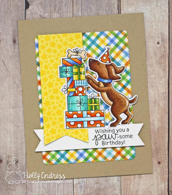 Dog Birthday Card by Holly Endress | Paw-some Birthday Stamp Set and Frames & Flags Die Set by Newton's Nook Designs #newtonsnook #handmade