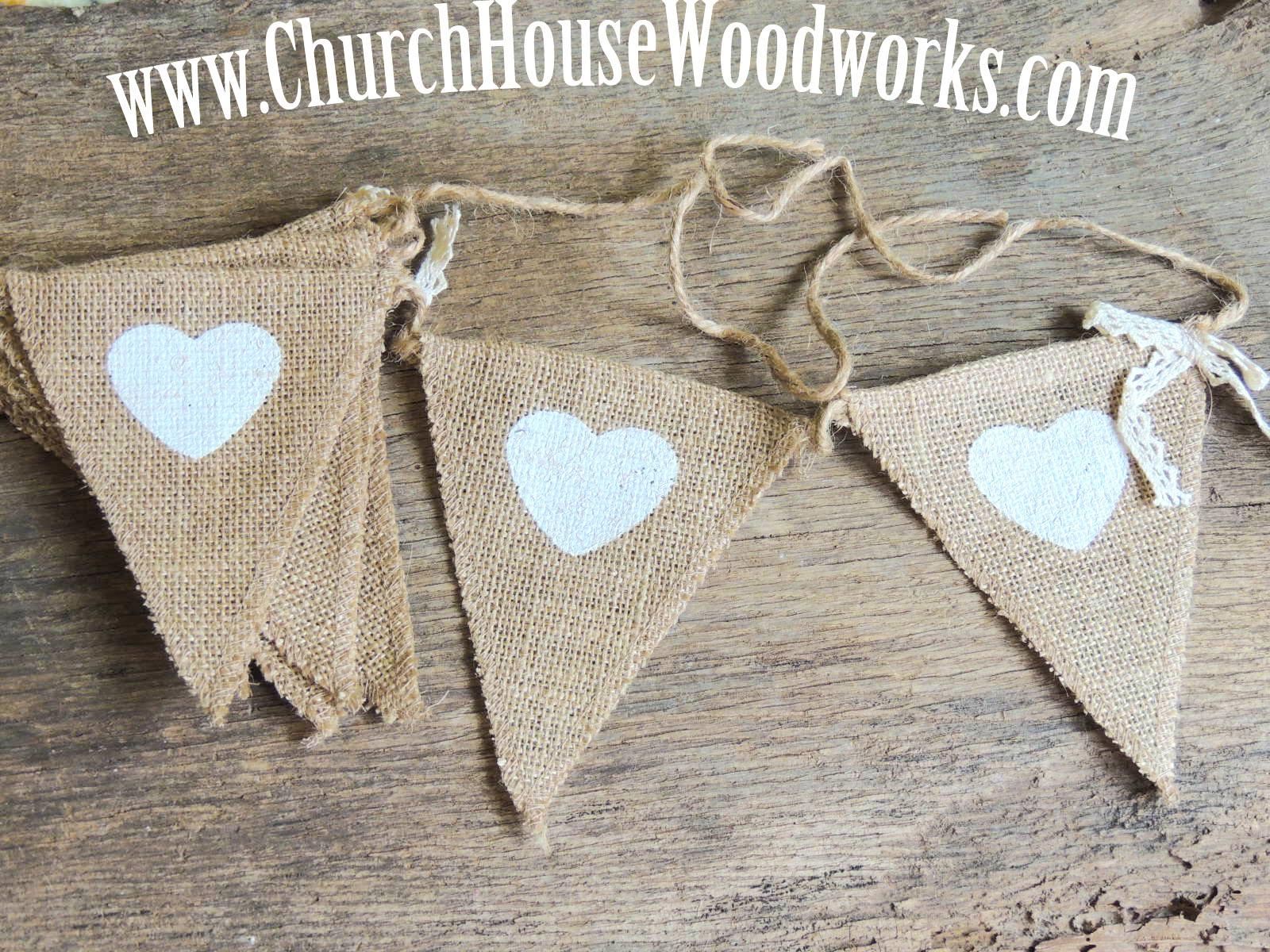 Heart Burlap Flag Banner For Rustic Weddings Baby Showers Birthdays Church House Woodworks DIY Decorating