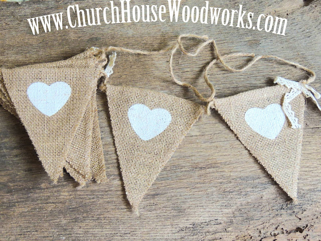 Heart Burlap Flag Banner For Rustic Weddings, Baby Showers, Birthdays- Church House Woodworks- DIY Decorating