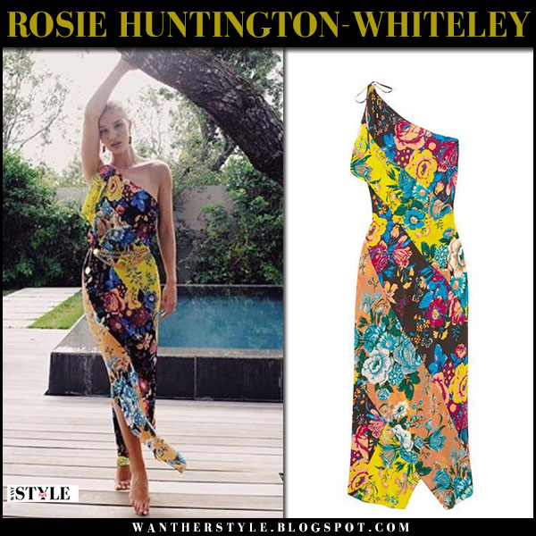 Rosie Huntington-Whiteley in floral print maxi dress diane von furstenberg vacation summer style february 2018