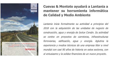 Trabajo por el que Cuevas y Montoto Consultores ayudará a Lantania a actualizar y mantener su herramienta informática de apoyo a la gestión de calidad y medio ambiente.