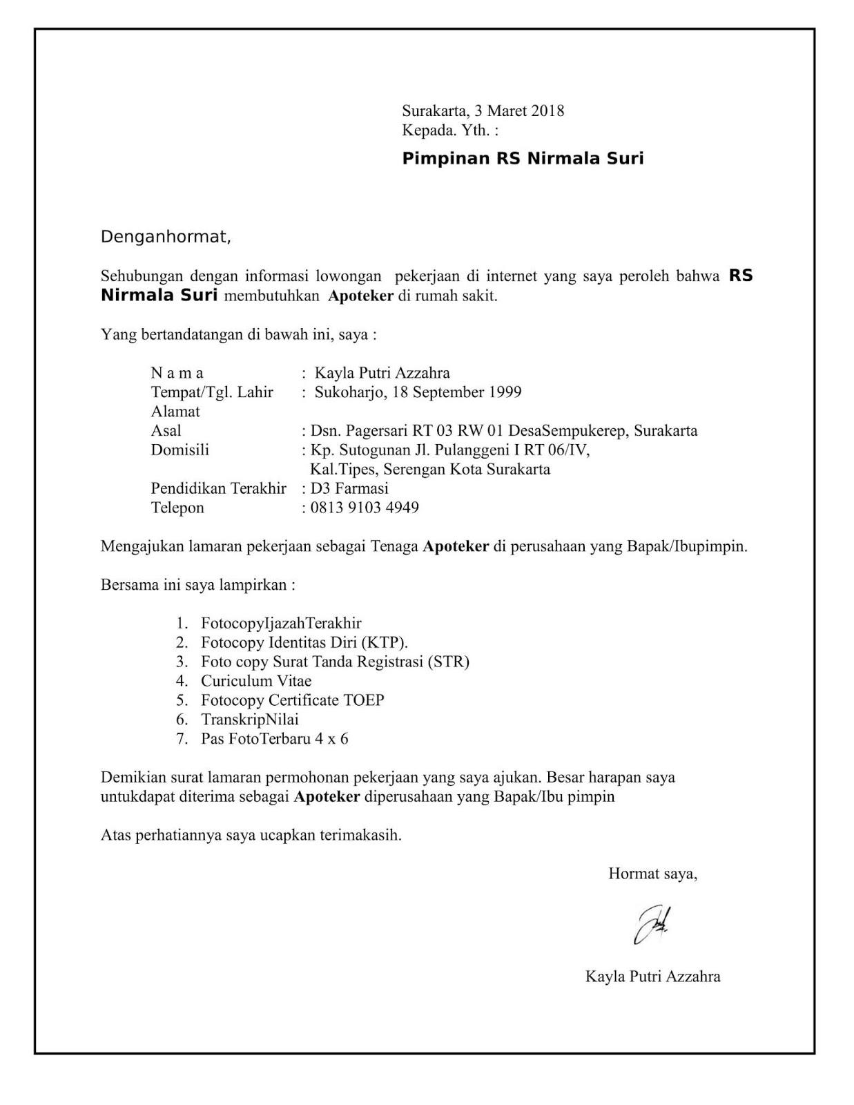 Contoh surat lamaran kerja di Rumah Sakit sebagai apoteker