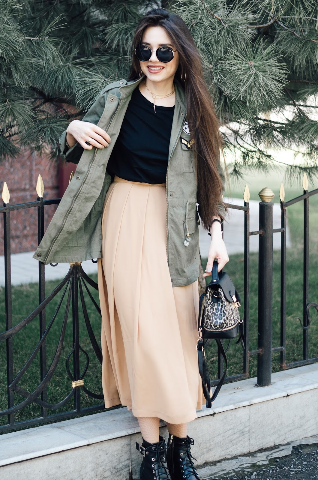 fashion blogger diyorasnotes chiffon midi dress outfit with parka boots shein